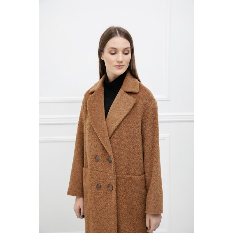 Karamelinis alpakos vilnos paltas Claudia