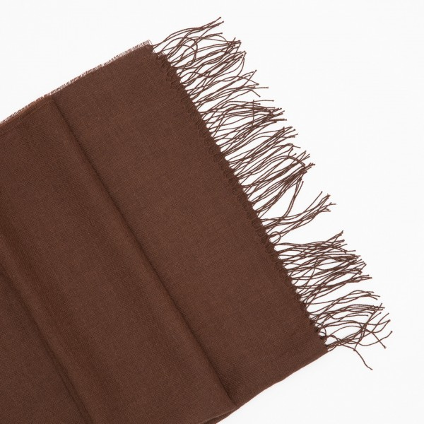 Šokolado spalvos alpakos - šilko šalikas