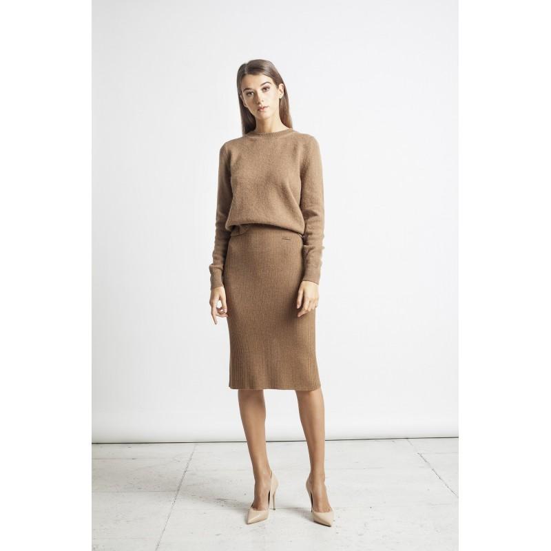 Elegantiškas megztas sijonas Luisa, kupranugario spalvos
