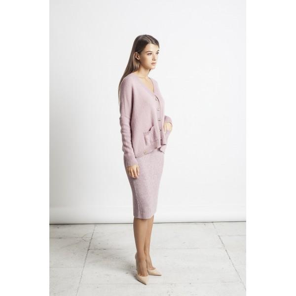 Elegantiškas megztas sijonas Luisa, pelenų rožinės spalvos