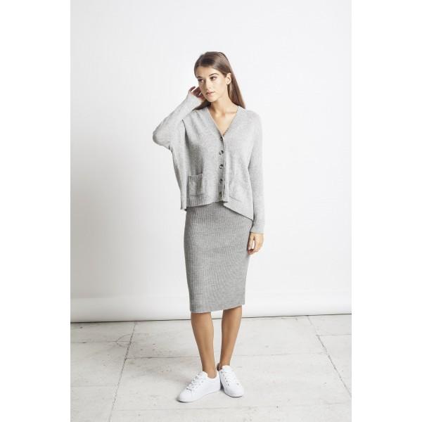 Elegantiškas megztas sijonas Luisa, pilkos spalvos