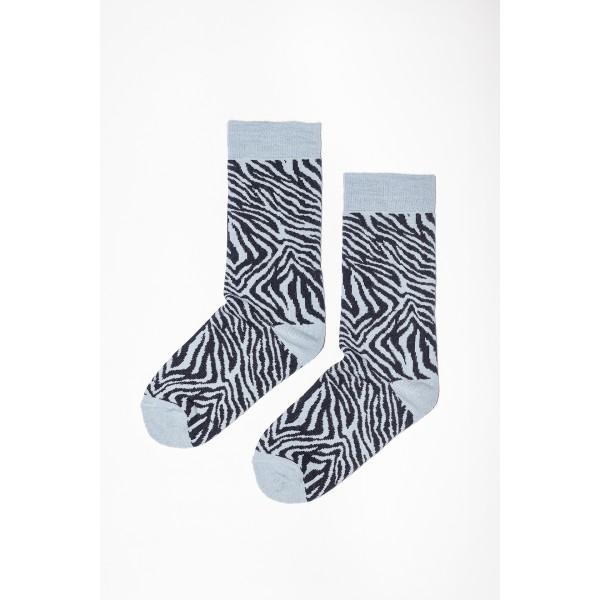 Žydros spalvos zebro rašto kojinės