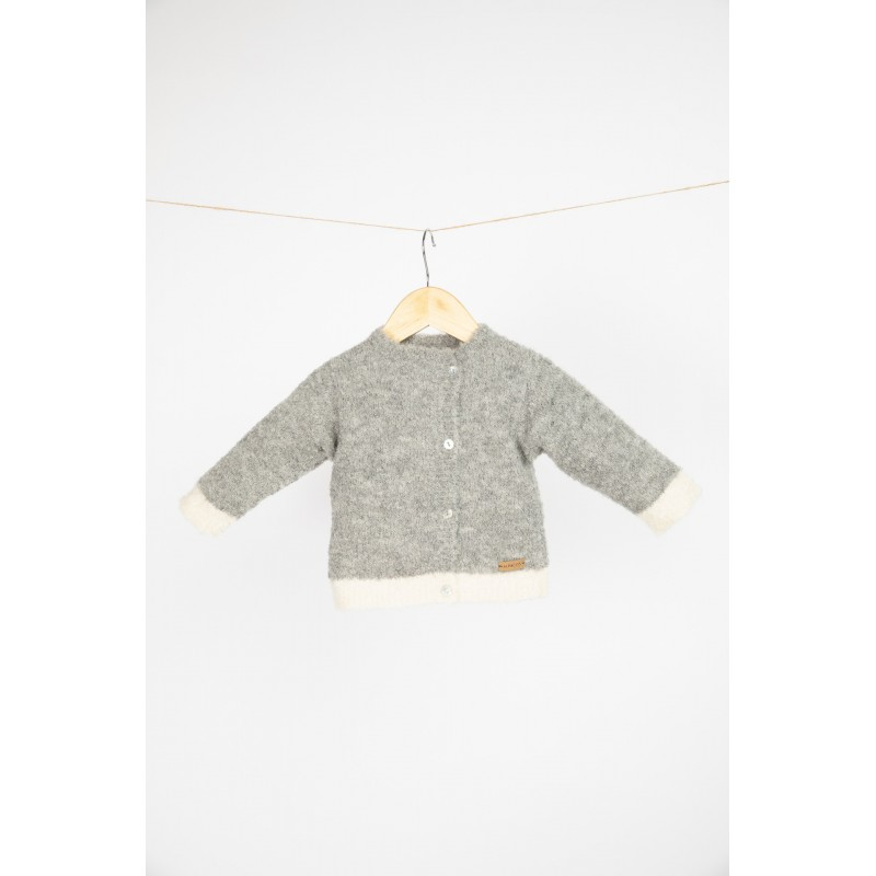 Dviejų spalvų kardiganas-megztinis kūdikiui, pilkos ir baltos spalvos