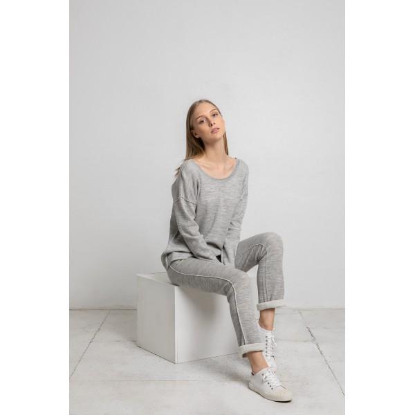 Laisvalaikio kelnės su kišenėmis, šviesiai pilkos spalvos