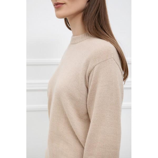 Klasikinis megztinis Alicia, smėlio spalvos