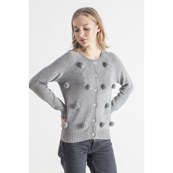 Pilkos spalvos megztinis su bumbulais Narella