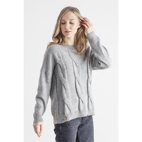Pilkos spalvos pynių rašto maxi megztinis Marla