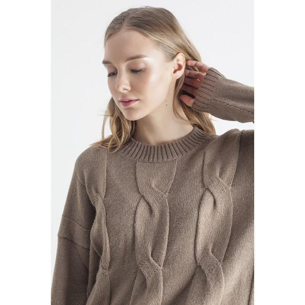 Rudos spalvos pynių rašto maxi megztinis Marla