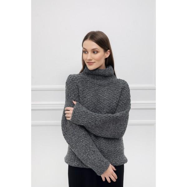 Storo pynimo asimetrinis megztinis Alessa, pilkos spalvos