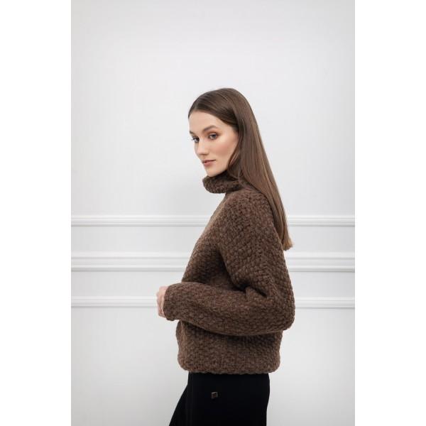 Storo pynimo asimetrinis megztinis Alessa, rudos spalvos