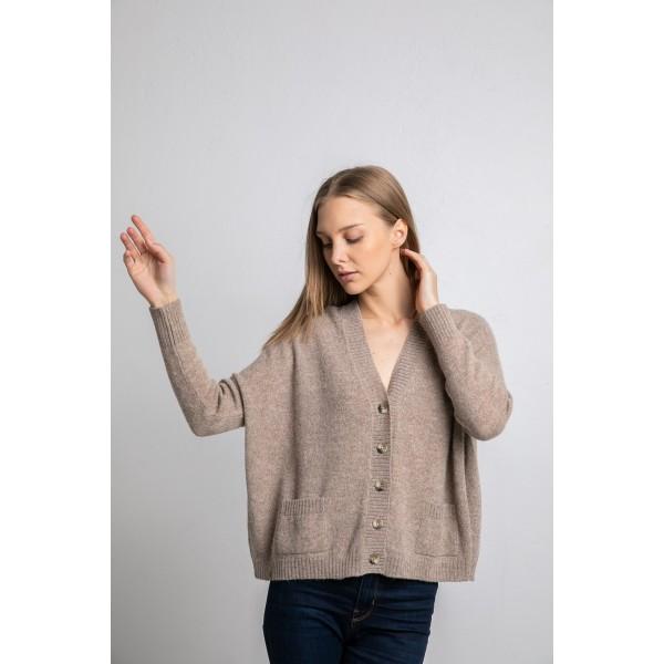 Užsagstomas megztinis Arapa, kapučino spalvos