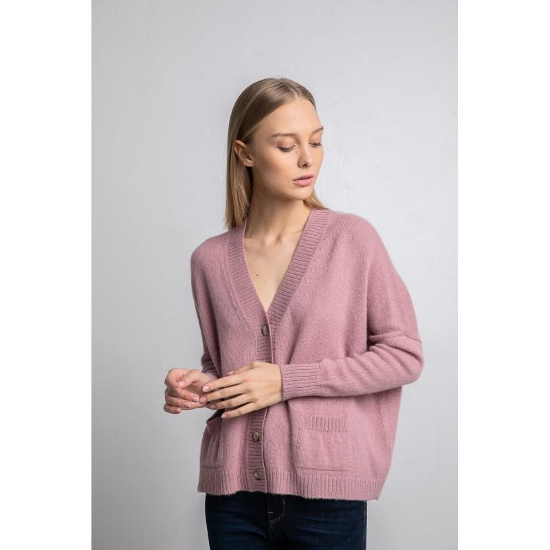 Užsagstomas megztinis Arapa, pelenų rožinės spalvos