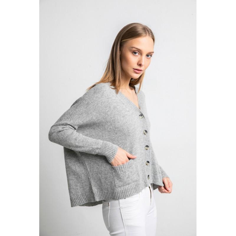 Užsagstomas megztinis Arapa, šviesiai pilkos spalvos