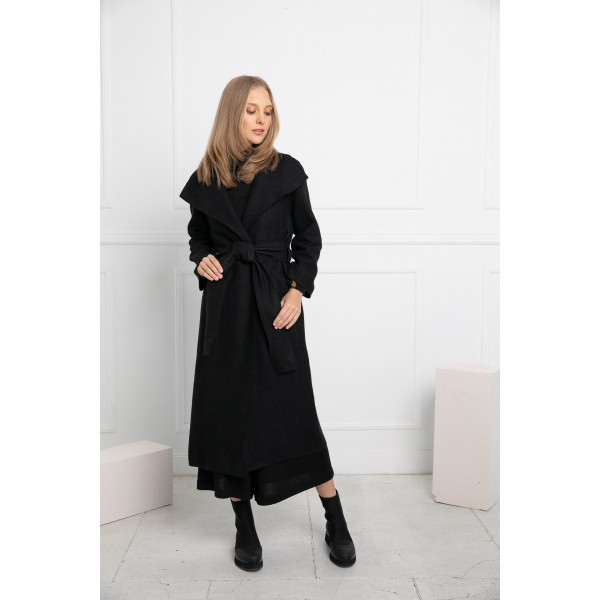 Dailusis paltas - apsiaustas Camilla, juodos spalvos