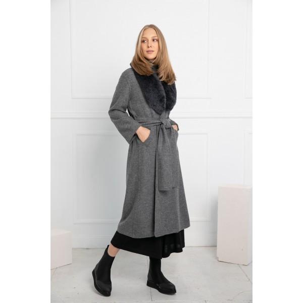 Pilkos spalvos elegantiškas paltas Alondra  su pilkos spalvos kailine alpakos apykakle