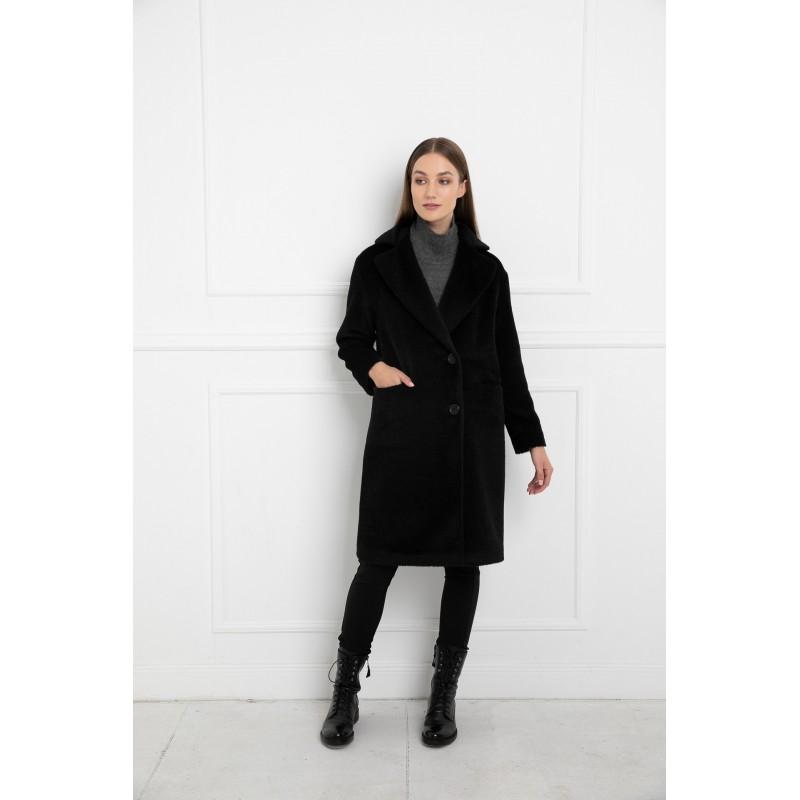Juodas alpakos vilnos paltas Claudia
