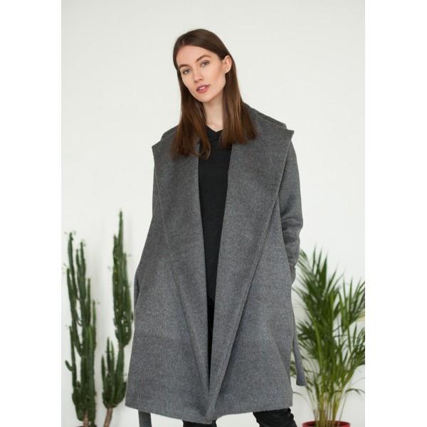 Pilkas alpakos vilnos paltas Suri