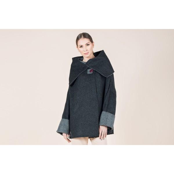 Tamsiai pilkas alpakos paltas Dvipusis