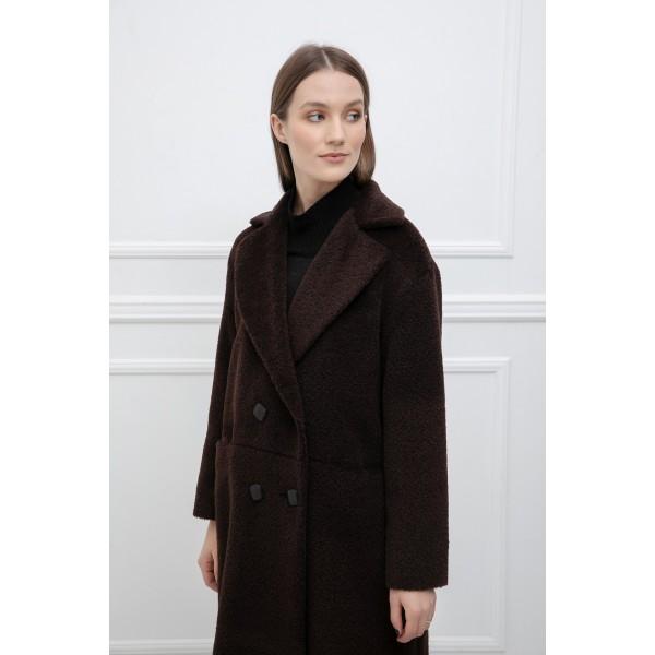 Tamsiai rudas alpakos vilnos paltas Claudia