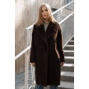 Tamsiai rudas alpakos vilnos paltas Žiema
