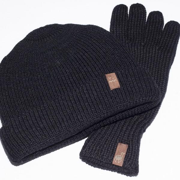 Juodos spalvos kepurės ir pirštinių komplektas