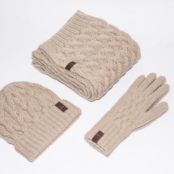 Smėlio spalvos kepurės, šaliko ir pirštinių komplektas