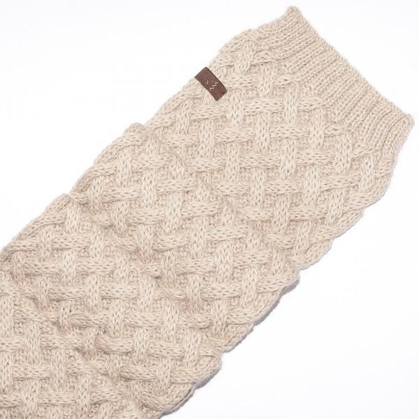 Smėlio spalvos pynių rašto šalikas