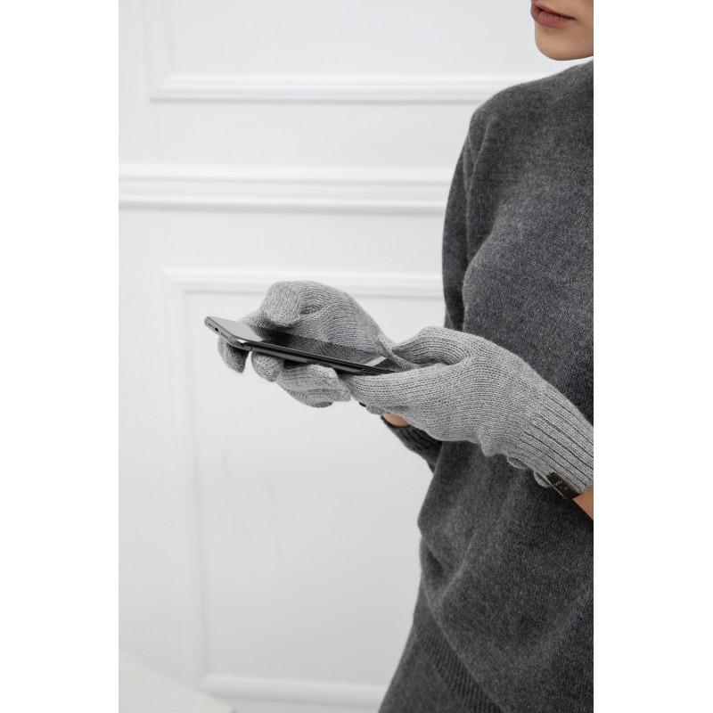 Išmaniosios touch screen (jutiklinės) alpakos vilnos pirštinės Lucia, šviesiai pilkos spalvos