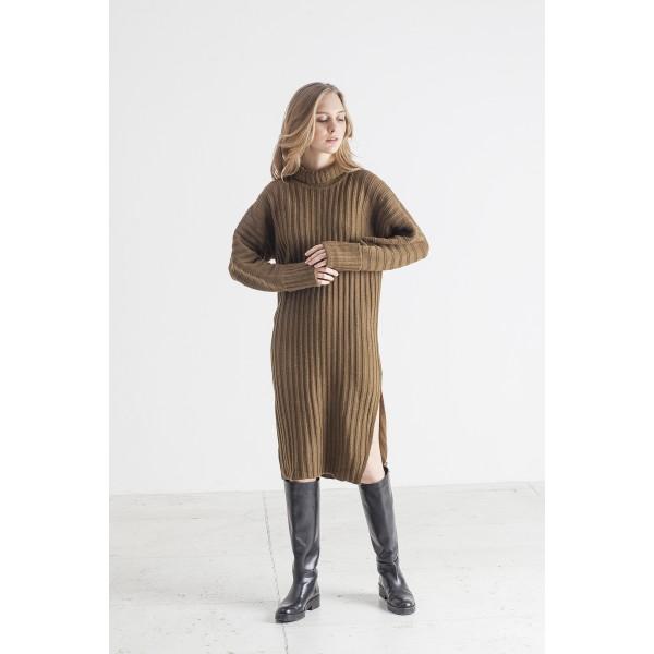 Rusvai žalsvos spalvos suknelė su skeltuku Kiara