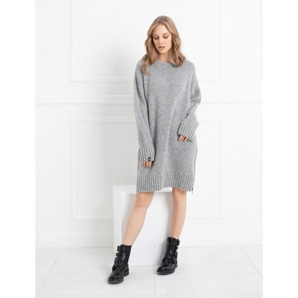 Pilka suknelė-tunika su iškirpte nugaroje