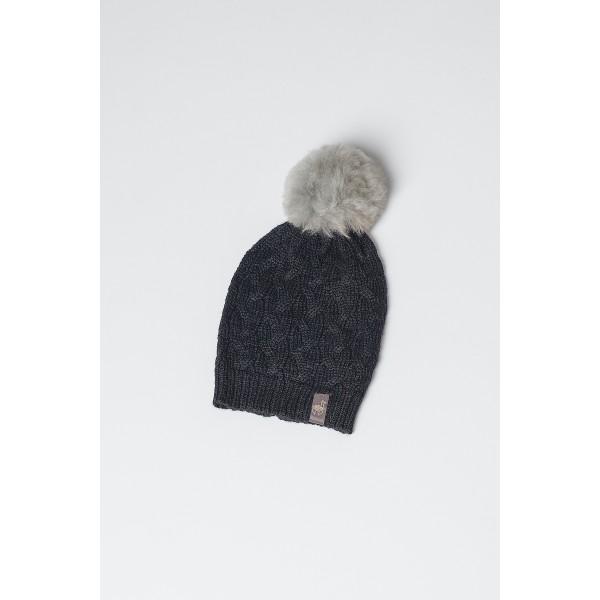 Juodos spalvos pynių rašto kepurė Nixi su pilku bumbulu