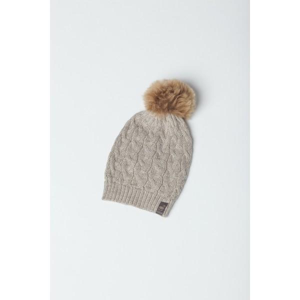 Smėlio spalvos pynių rašto kepurė Nixi su karameliniu bumbulu