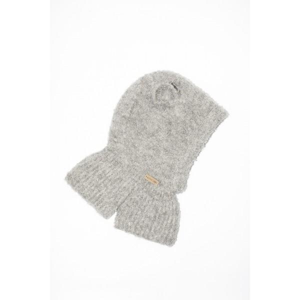 Pilkos spalvos kepurė-šalmukas su ausytėmis