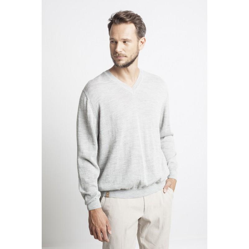 Klasikinis megztinis V formos iškirpte, šviesiai pilkos spalvos