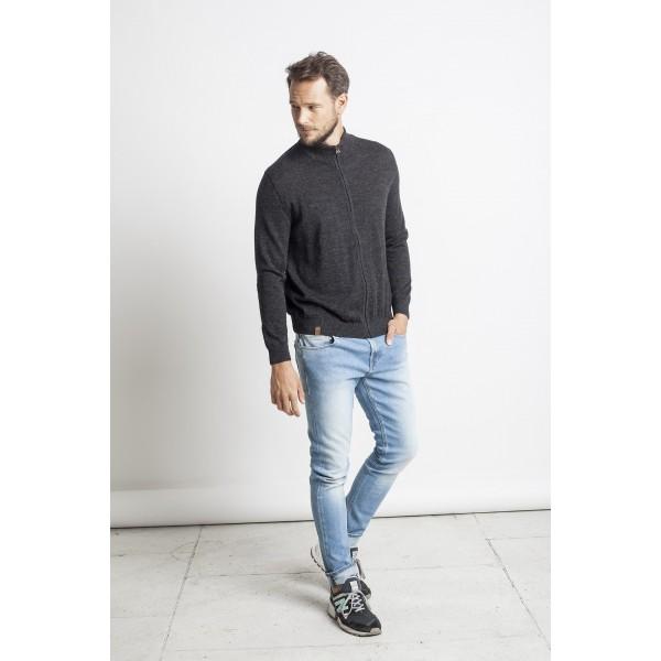 Laisvalaikio megztinis su užtrauktuku, pilkos spalvos