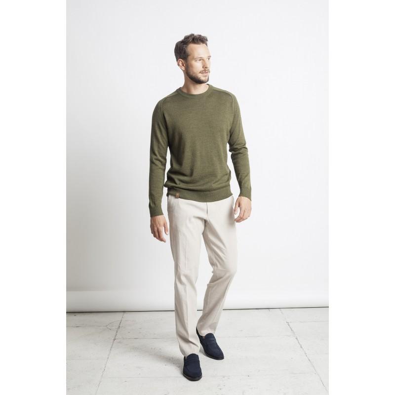 Lengvas megztinis apskrita apykakle Luis, samaninės spalvos