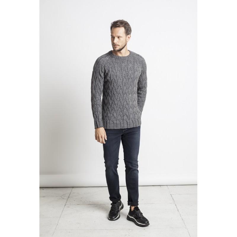 Pynių raštų megztinis Antony, pilkos spalvos