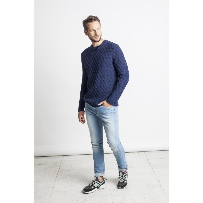 Rombų rašto megztinis Alex, mėlynos spalvos